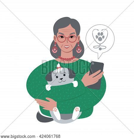 Senior Caucasian Woman With A Tiny Dog Searching For Veterinarian Online From Smartphone.