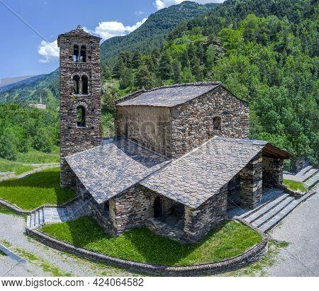 Sant Joan De Caselles (canillo, Andorra). Romanesque Church Build In The 12th Century. Panoramic Com