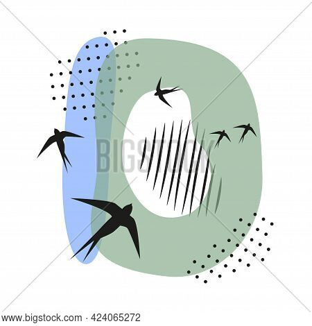 Minimalistic Pattern An Oriental Style In Form Of Letter D. Flock Of Swallows Flies. Abstract Object