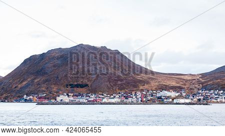 Honningsvag Coastline.   The Norwegian Port City Of Honningsvag Coastline Viewed From The Barents Se