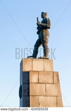 Kirkenes, Norway - November 7:  A Statue Of A Russian Soldier Pictured In Kirkenes, Norway On Novemb