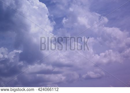 Blue Sky White Clouds Background Fluffy, Sunlight