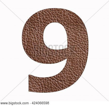 Number Nine (9) - Brown Leather Texture Background
