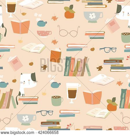 Seamless Pattern With Books, Cups And Eyeglasses. Autumn Mood