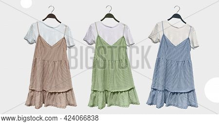 Short Striped Rustic Strappy Dress On Hanger. Composition Of Clothes. Collage Sale Clothes Banner. F