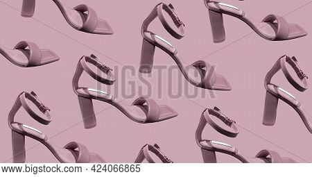 Elegant Fashionable Summer Leather High-heel Stylish Women's Sandals Isolated. Composition Of Clothe