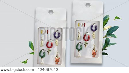 Pack Of Mini Hoop Earrings In Different Shapes And Colors With Appliqués. Jewelry. Stud Hoop Drop Da