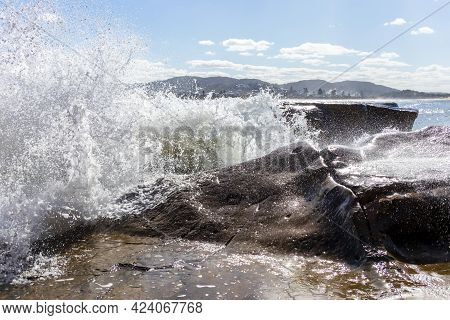 Photograph Of The Rock Pool In The Pacific Ocean At Terrigal Beach At Sunset On The Central Coast In