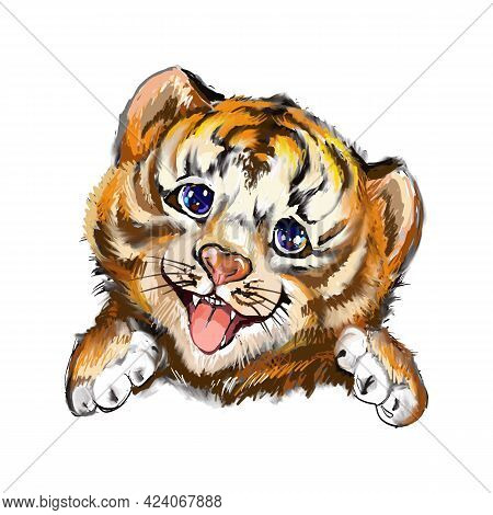 Tiger Head. Hand-painted Watercolor Style, Black Ink Line Art. Young Predatory Wild Cat. Cute, Smili