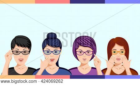 Set Woman In Glasses In Amazement Emotion