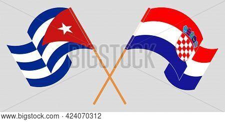 Crossed And Waving Flags Of Cuba And Croatia