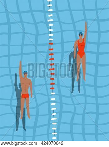 Swimmers In The Pool Top View. Man And Woman Swim Swim On The Back In The Swimming Pool. Sports Comp