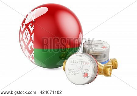Water Consumption In Belarus. Water Meters With Belarusian Flag. 3d Rendering Isolated On White Back