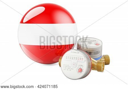 Water Consumption In Austria. Water Meters With Austrian Flag. 3d Rendering Isolated On White Backgr