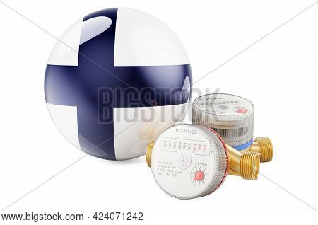 Water Consumption In Finland. Water Meters With Finnish Flag. 3d Rendering Isolated On White Backgro