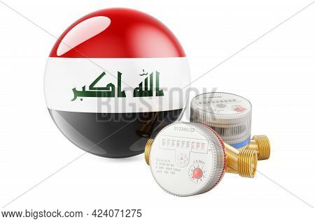 Water Consumption In Iraq. Water Meters With Iraqi Flag. 3d Rendering Isolated On White Background