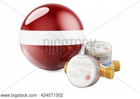 Water Consumption In Latvia. Water Meters With Latvian Flag. 3d Rendering Isolated On White Backgrou