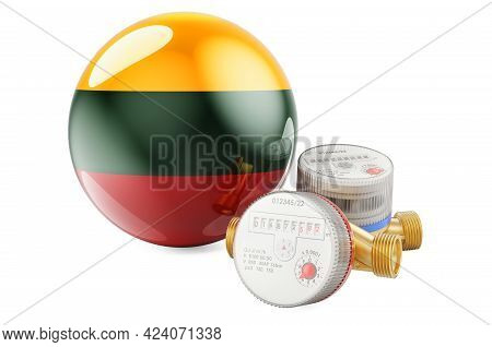 Water Consumption In Lithuania. Water Meters With Lithuanian Flag. 3d Rendering Isolated On White Ba