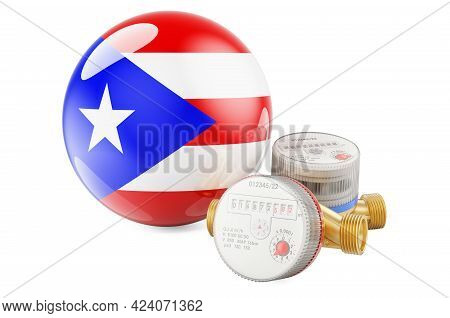 Water Consumption In Puerto Rico. Water Meters With Puerto Rican Flag. 3d Rendering Isolated On Whit