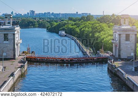 Gateway View Of The River At Summer Evening. Moscow. Russia.