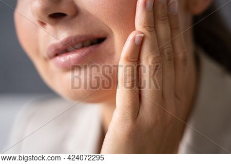 Sore Tooth Decay. Woman Mouth With Dental Ache
