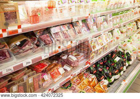 Kaliningrad, Russia - November 19, 2020: Meat On Shelves Of Supermarket.