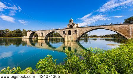 Pont Saint-benezet On The Rhone River In Avignon, France.