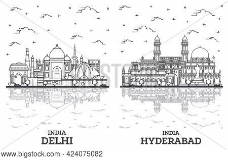 Outline Hyderabad and Delhi India City Skyline Set with Historic Buildings and Reflections Isolated on White. Vector Illustration. Delhi Cityscape with Landmarks.