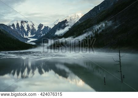 Scenic Alpine Landscape With Snowy Mountains In Golden Sunlight Reflected On Mirror Mountain Lake In