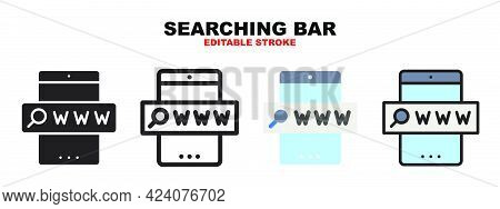 Searching Bar Icon Set With Different Styles. Icons Designed In Filled, Outline, Flat, Glyph And Lin