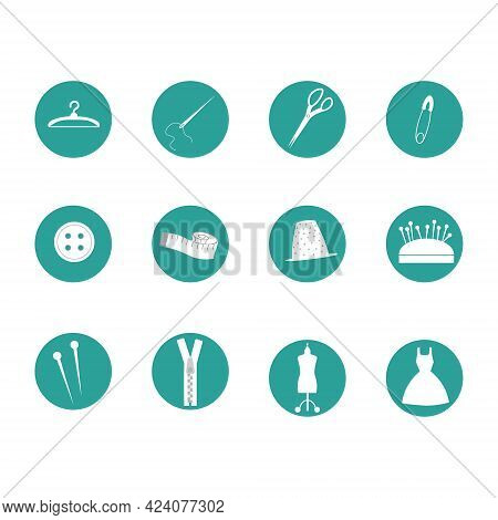 Round Icons With Sewing Tools. Scissors, Mannequin, Buttons And Pins, Thimble, Hanger And Dress. Vec