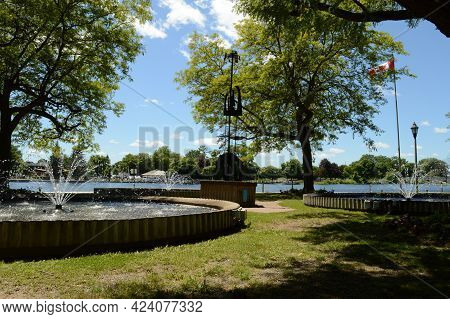 Smiths Falls, Ontario, Ca, June 16, 2021: A View Of The Fountains At Centennial Park In Smiths Falls
