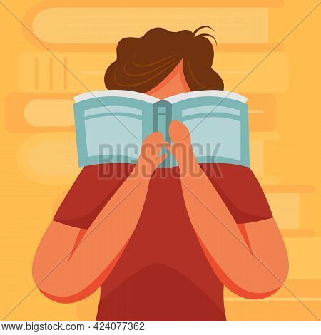 Brunette Person Reading Book Flat Vector Illustration. Exam Preparation. Junior Learning Publication