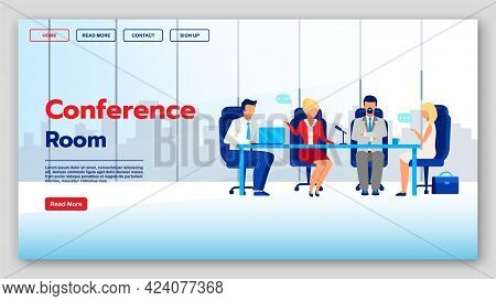 Conference Room Landing Page Vector Template. Corporate Communication Website Interface Idea With Fl