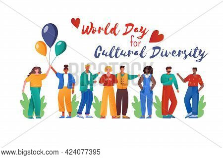 World Day For Cultural Diversity Flat Poster Vector Template. International Holiday. Multiracial Peo