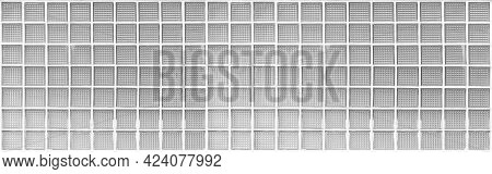 Panorama Of White Translucent Glass Block Wall Pattern And Background Seamless