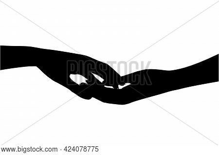 Silhouette Of Human Hands Touching Each Other Isolated On White Background. Vector Illustration