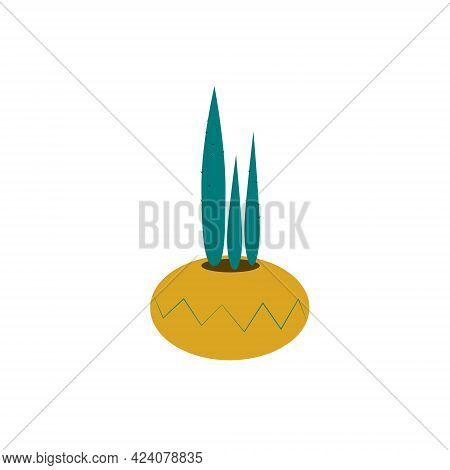Green Prickly Cactus In A Yellow Pot With A Pattern, Isolated On A White Background. Plants And Home