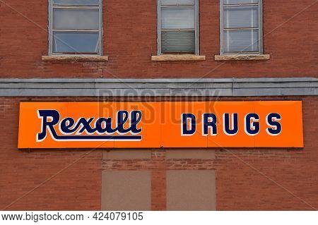 Eureka, South Dakota, April 28, 202 The Drug Sign Represents Rexall Pharmacy Group Ltd,  A Chain Of