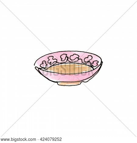 Bowl. Plate. Kitchen Utensils And Cooking Utensils. Single Line.the Illustration Is Hand-drawn In Li