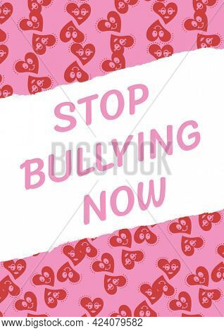 Composition of anti bullying text with hearts on pink and white background. childhood, bullying and social issues concept digitally generated image.