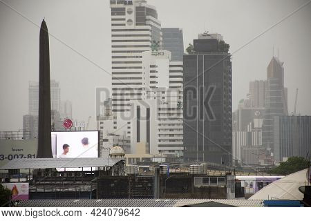 View Landscape Cityscape Of Bangkok City And High Building With Bts Skytrain Running Between Station