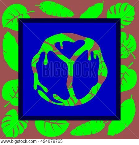 The Image Of Wallpaper In The Form Of A Hippie Icon On A Background Of Colored Flowers. Vector Illus