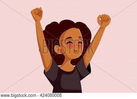 Cheerful African Teenage Girl Feeling Excitement Vector Illustration
