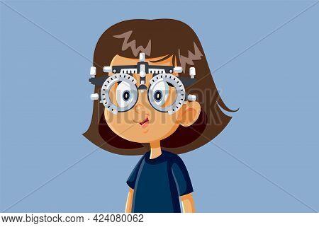 Little Girl Undergoing Eye Test With Phoropter