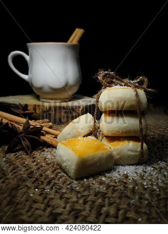 Closeup Composition Of Tea Setup With Baked Biscuits Or Cookies And Tea Cup Decorated With Cinnamon