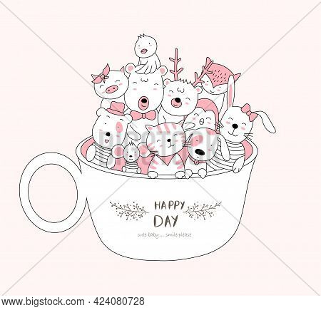 The Cute Baby Animal In Cup. Cartoon Sketch Animal Style