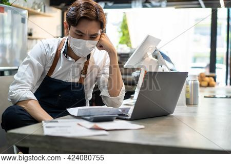 Depressed Asian Cafe Owner Wear Protective Mask During Covid19 Pandemic Feel Worried About Financial