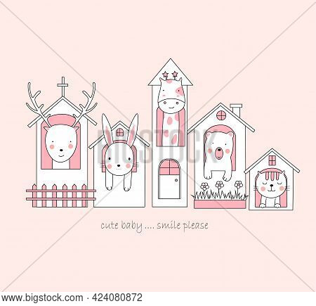 The Cute Baby Animal In House. Cartoon Sketch Animal Style