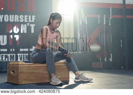 Portrait Of Asian Active Fitness Sportswoman Trainer Workout For Health Care Lifestyle. Bodybuilder
